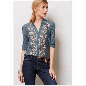 """Anthropologie """"Tiny"""" Embroidered Blouse"""
